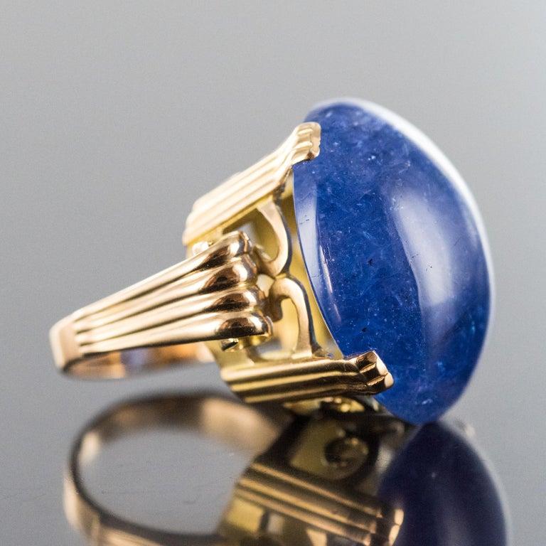 Women's French 1960s Retro 49.20 Carat Tanzanite 18 Karat Yellow Gold Ring For Sale