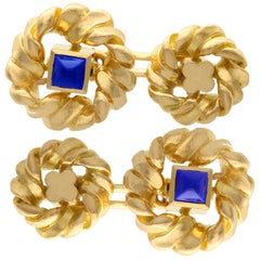 French 1960s Sapphire and Yellow Gold Cufflinks