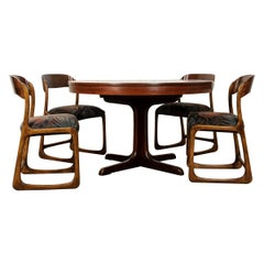 French 1960s Scandinavian Modern Rosewood Dining Suite