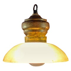 French 1960s Single Light Ceiling Pendant Light with Glass and Wood Shade