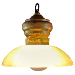 French 1960s Single Light Ceiling Pendant Light with Glass Shade