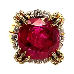 French 1960s Unheated Burmese Ruby Ring 18 Karat/PT