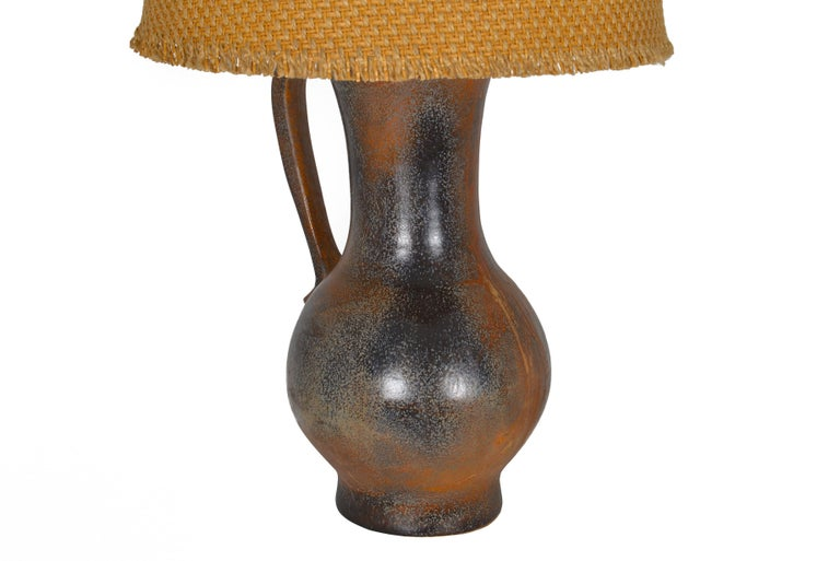 French 1960s Vallauris Ceramic Mounted as a Table Lamp In Good Condition For Sale In Sint-Kruis, BE