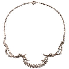French 1967 Mauboussin 15 Carat Diamonds Platinum 18 Karat White Gold Necklace