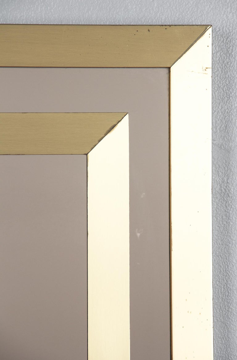 Brass Framed Mirror with Smoked Glass, France, 1970s For Sale 5