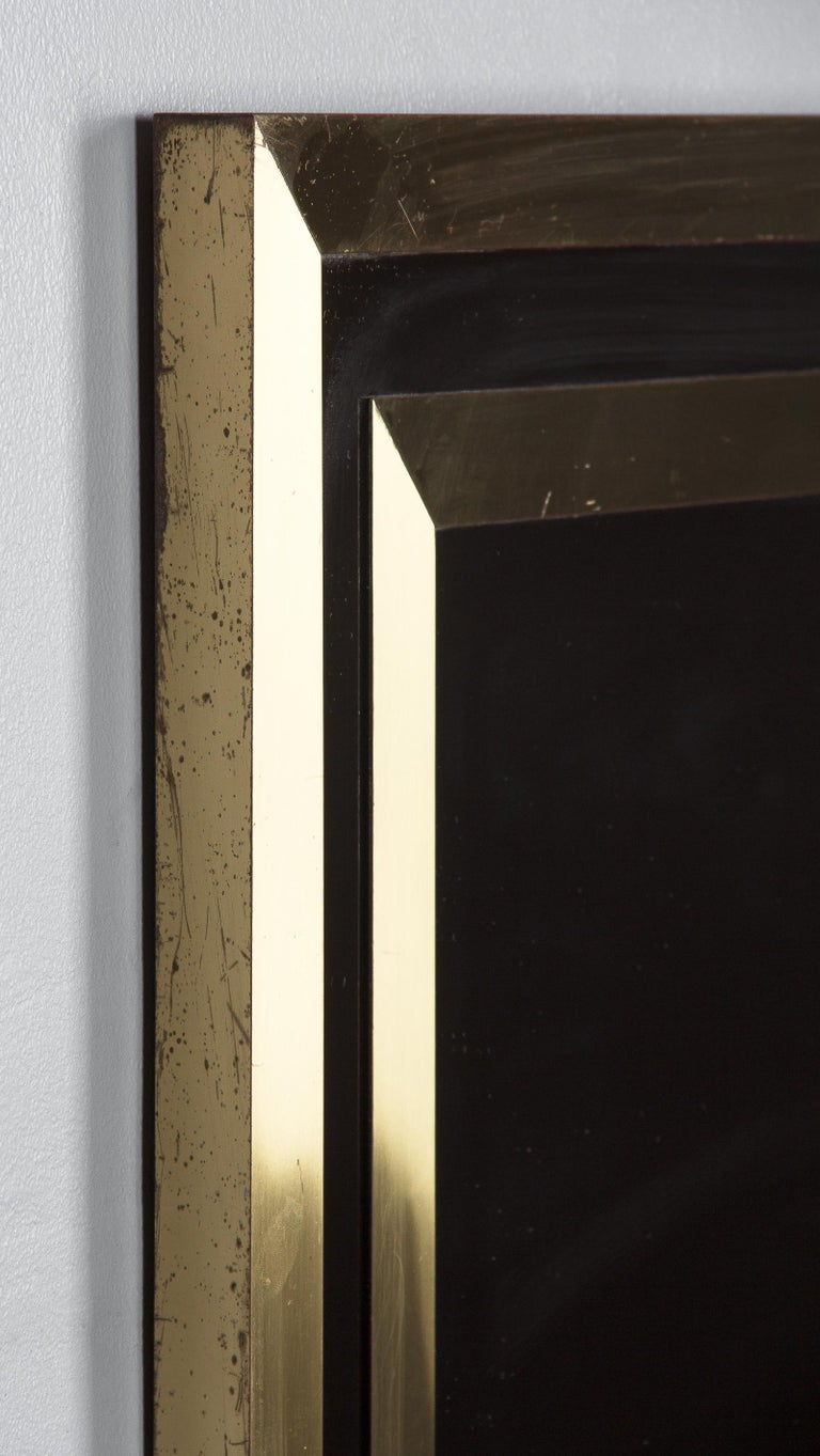 Brass Framed Mirror with Smoked Glass, France, 1970s For Sale 8