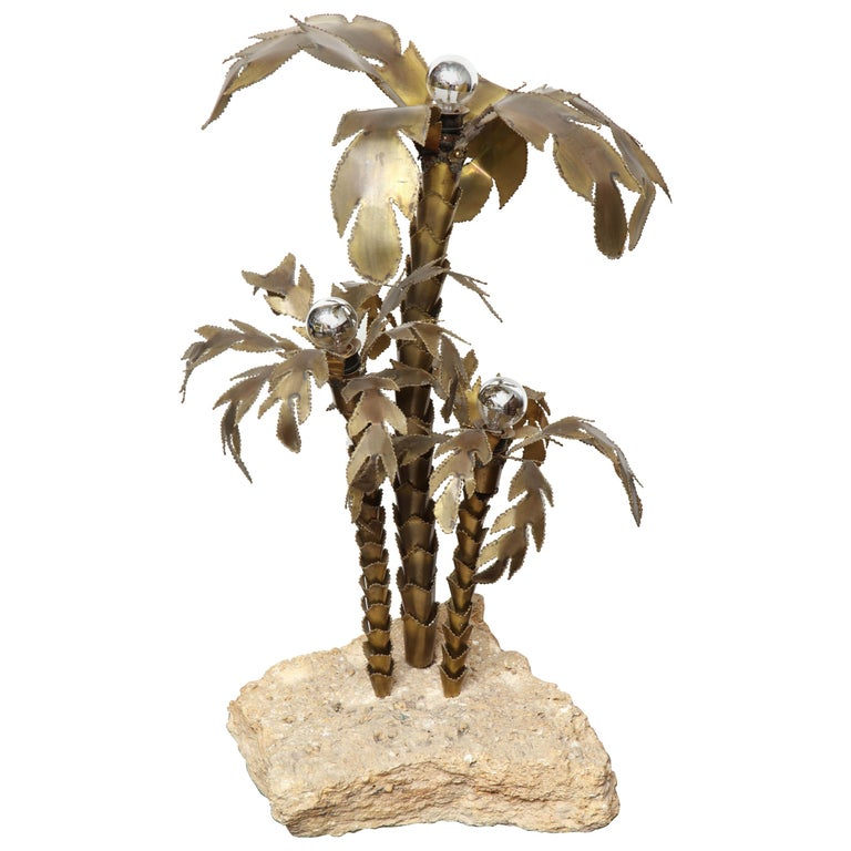 French 1970s Brutalist Palm Tree Lamp Table with Natural Stone Base For Sale