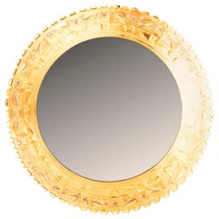 French 1970s Circular Cut Glass Surround Back Lit Mirror