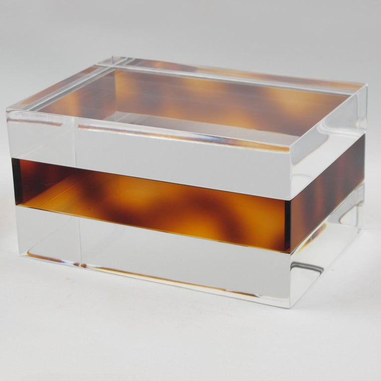 Mid-Century Modern French 1970s Clear and Tortoise Lucite Box For Sale