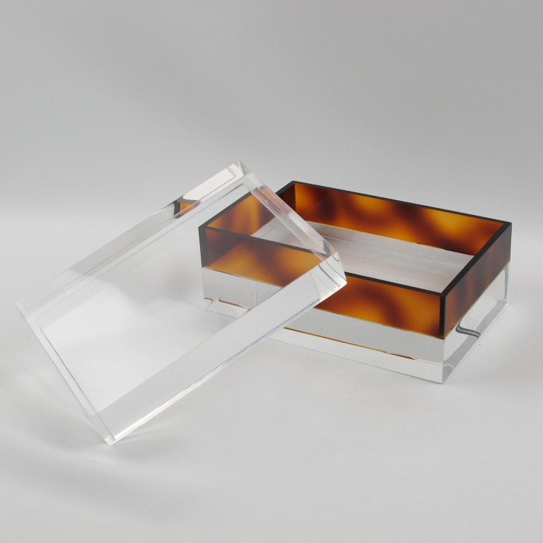French 1970s Clear and Tortoise Lucite Box In Excellent Condition For Sale In Atlanta, GA
