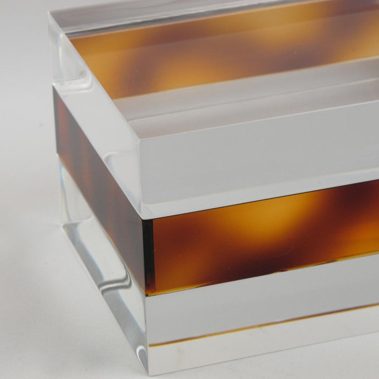 Late 20th Century French 1970s Clear and Tortoise Lucite Box For Sale