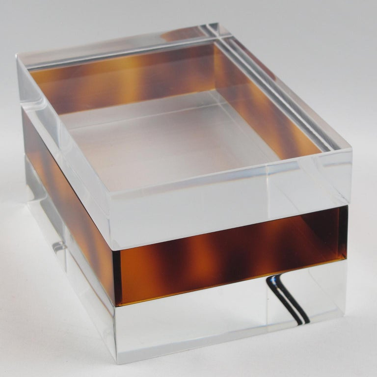 Acrylic French 1970s Clear and Tortoise Lucite Box For Sale