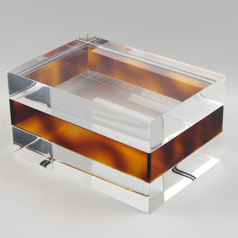 French 1970s Clear and Tortoise Lucite Box For Sale 1