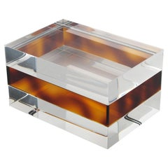 French 1970s Clear and Tortoise Lucite Box