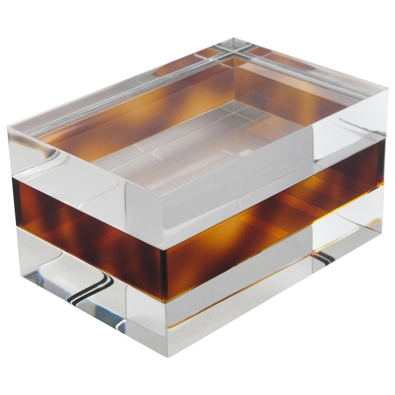 French 1970s Clear and Tortoise Lucite Box For Sale