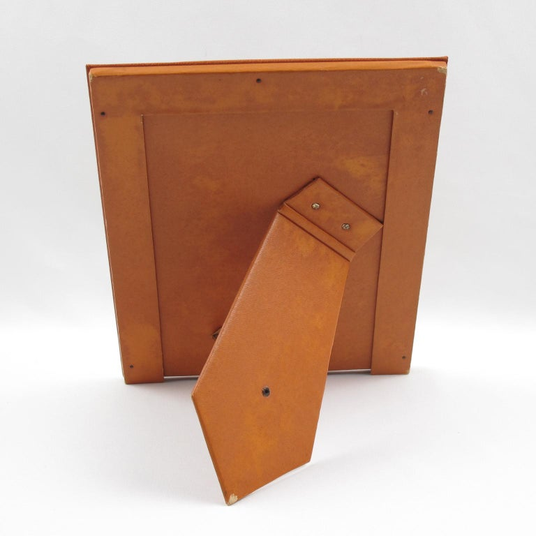 French 1970s Cognac Leather Picture Photo Frame In Good Condition For Sale In Atlanta, GA