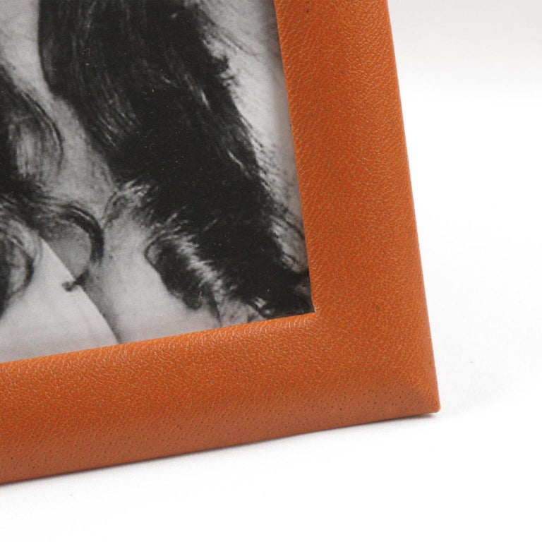 Late 20th Century French 1970s Cognac Leather Picture Photo Frame For Sale