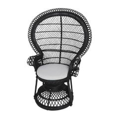 French 1970s Design Emmanuelle Armchair Black Lacquer Rattan and Wicker