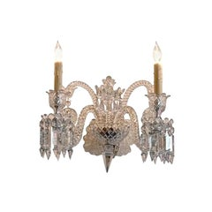 French 1970s Diamante Baccarat Crystal Electrified Wall Sconce with Two-Light