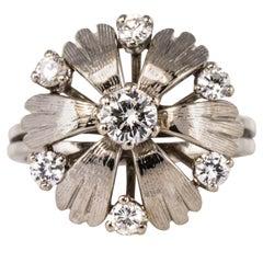 French 1970s Diamonds 18 Karat White Gold Petals Ring
