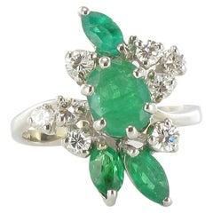 French 1970s Emerald Diamond 18 Carat White Gold Ring