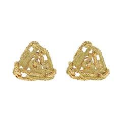 French 1970s Gold Geometric Earrings