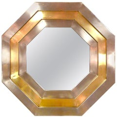 Stainless & Brass 1970's Octagonal Mirror by L'AngoloMetallArte, Roma