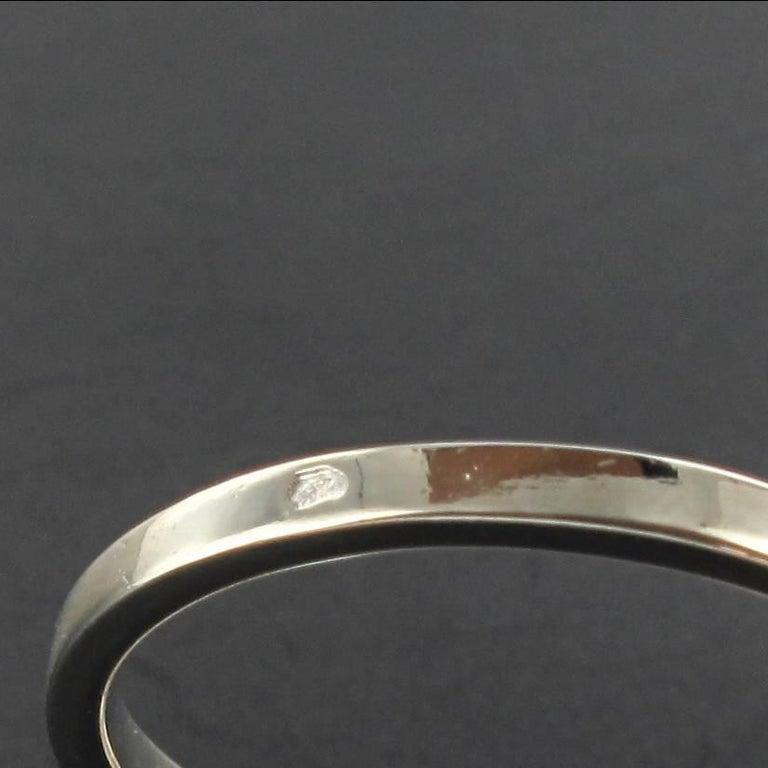 French 1970s Retro Diamond 18 Karat White Gold Marquise Ring  For Sale 6