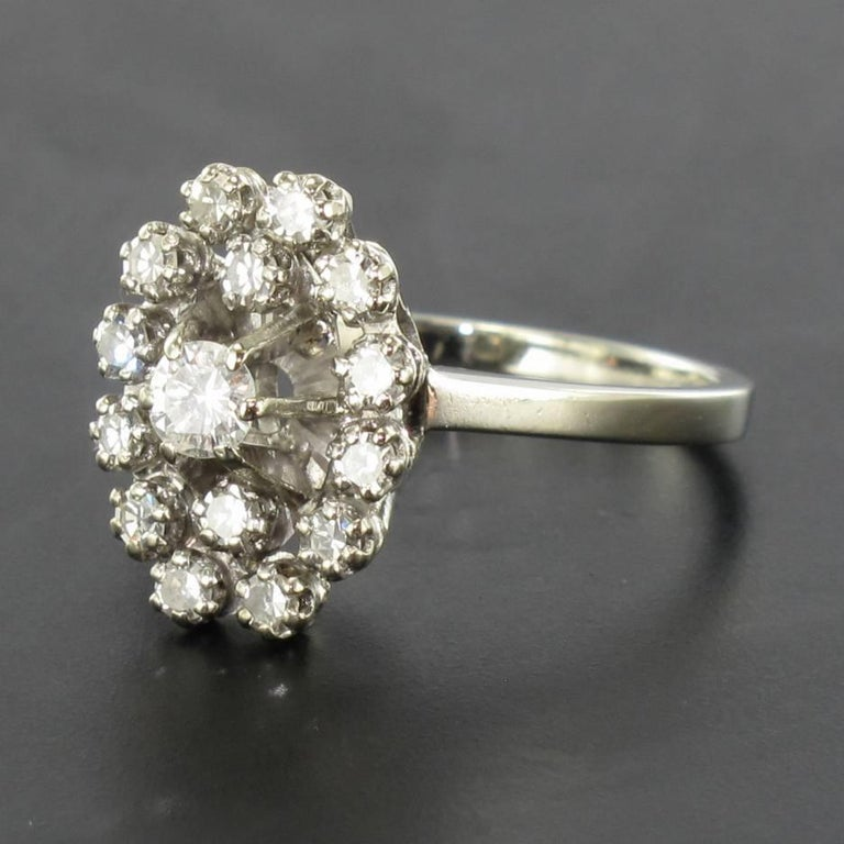 Women's French 1970s Retro Diamond 18 Karat White Gold Marquise Ring  For Sale