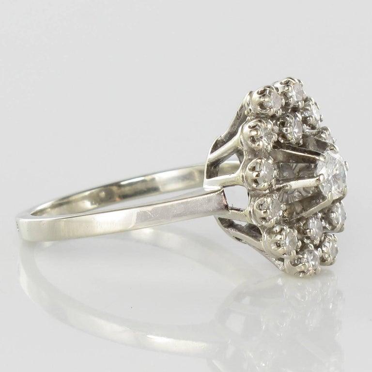 French 1970s Retro Diamond 18 Karat White Gold Marquise Ring  For Sale 1
