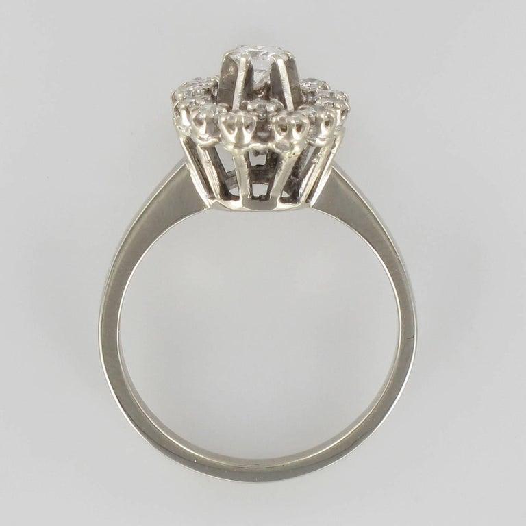 French 1970s Retro Diamond 18 Karat White Gold Marquise Ring  For Sale 2