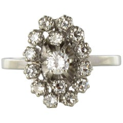 French 1970s Retro Diamond 18 Karat White Gold Marquise Ring