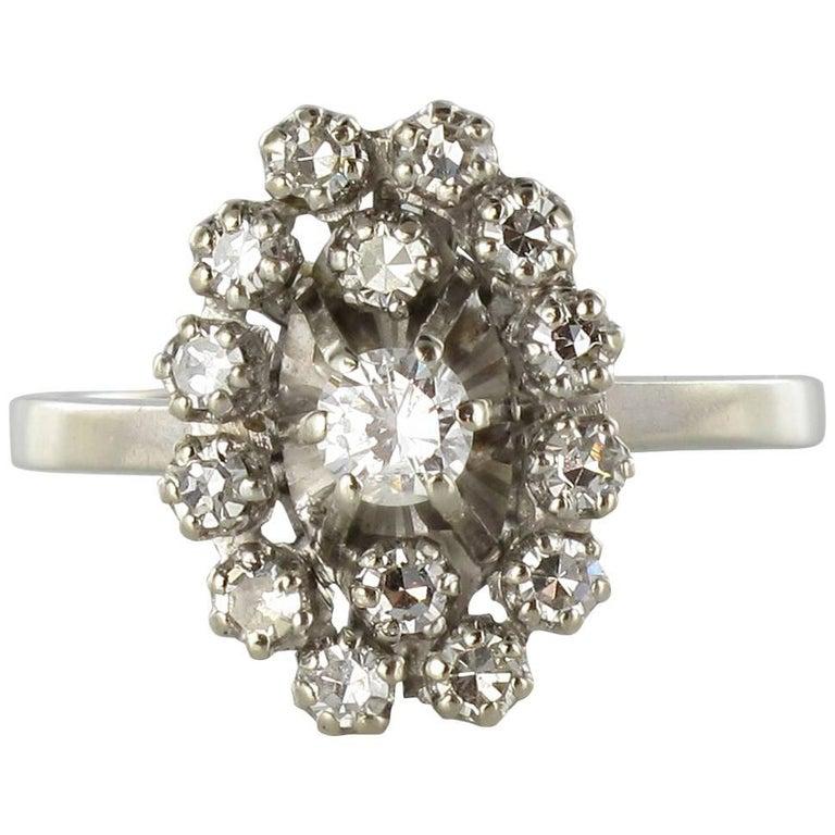 French 1970s Retro Diamond 18 Karat White Gold Marquise Ring  For Sale