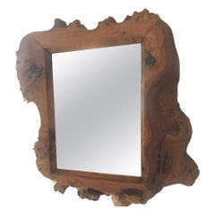 French 1970s Small Wood Mirror