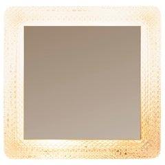 French 1970s Square Cut Glass Surround Back Lit Mirror