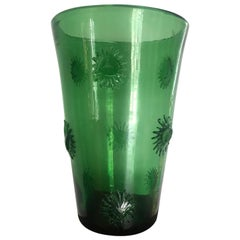 French 1970s Tall Green Vase