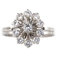 French 1970s White Sapphire 18 Karat White Gold Daisy Ring