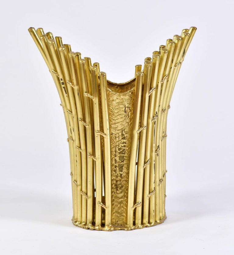 Sculptured  bamboo brass waste paper basket/umbrella stand by French designer Isabelle Faure.