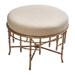 French 1980s Louis Philippe Style Faux Bamboo Stool