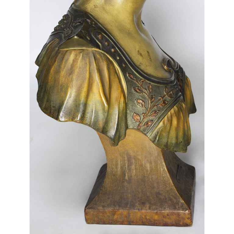 French 19th-20th Century Art Nouveau Polychromed Terracotta Bust of