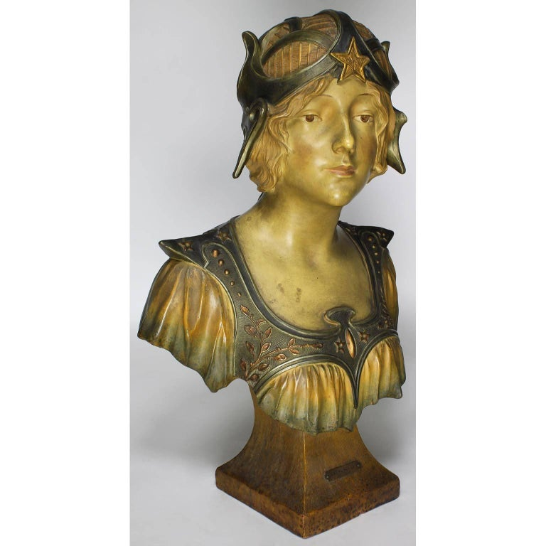A fine French 19th-20th century Art Nouveau polychromed terracotta bust of