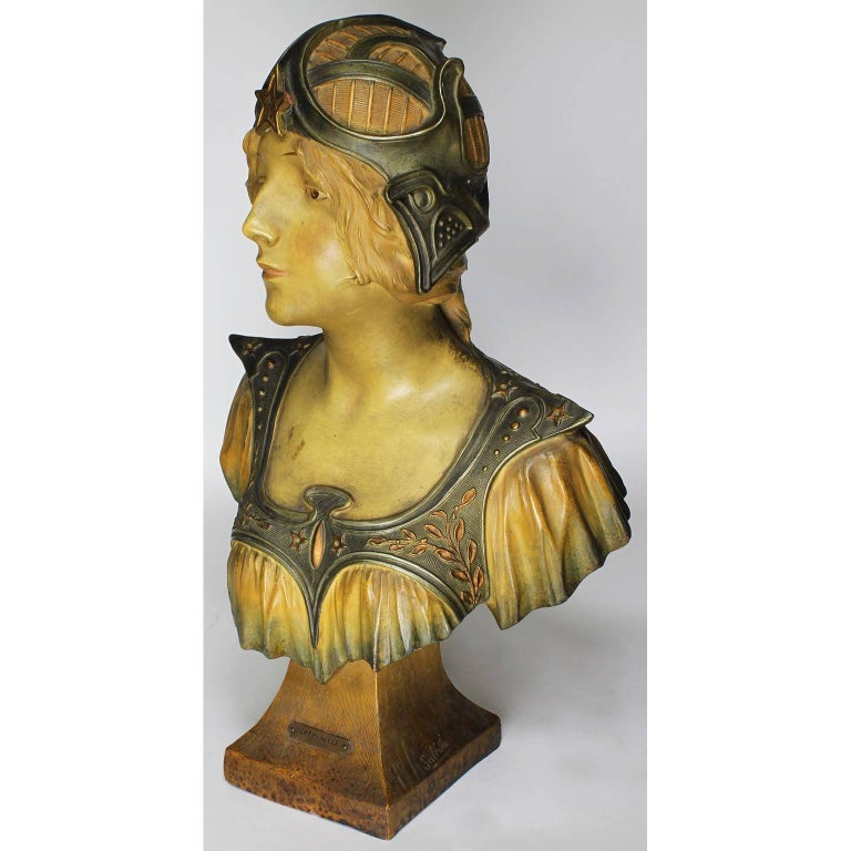 Early 20th Century French 19th-20th Century Art Nouveau Polychromed Terracotta Bust of