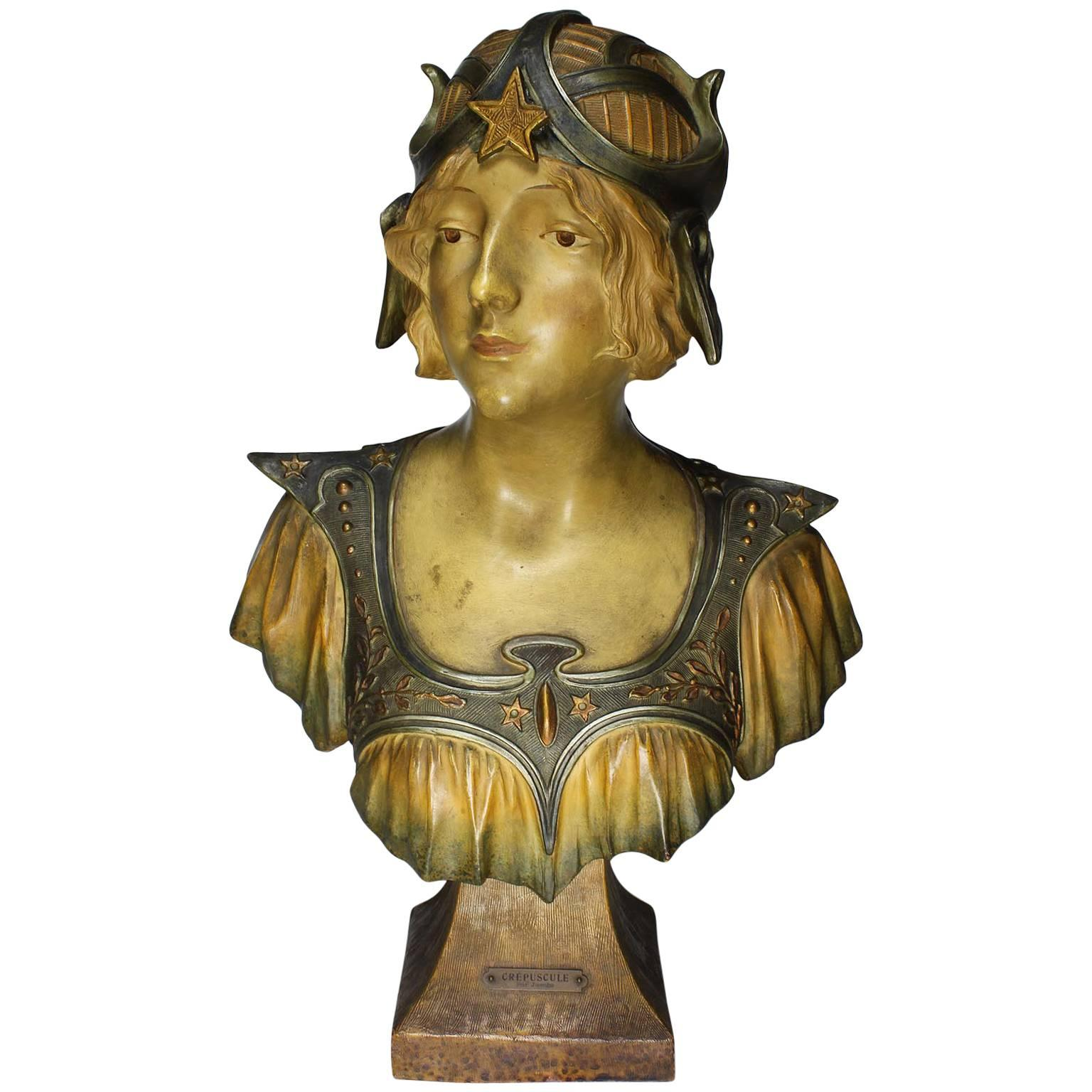 """French 19th-20th Century Art Nouveau Polychromed Terracotta Bust of """"Crépuscule"""""""