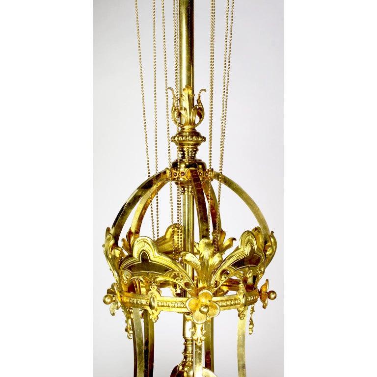French 19th-20th Century Belle Époque Gilt-Bronze & Cut-Glass 6-Light Chandelier For Sale 5