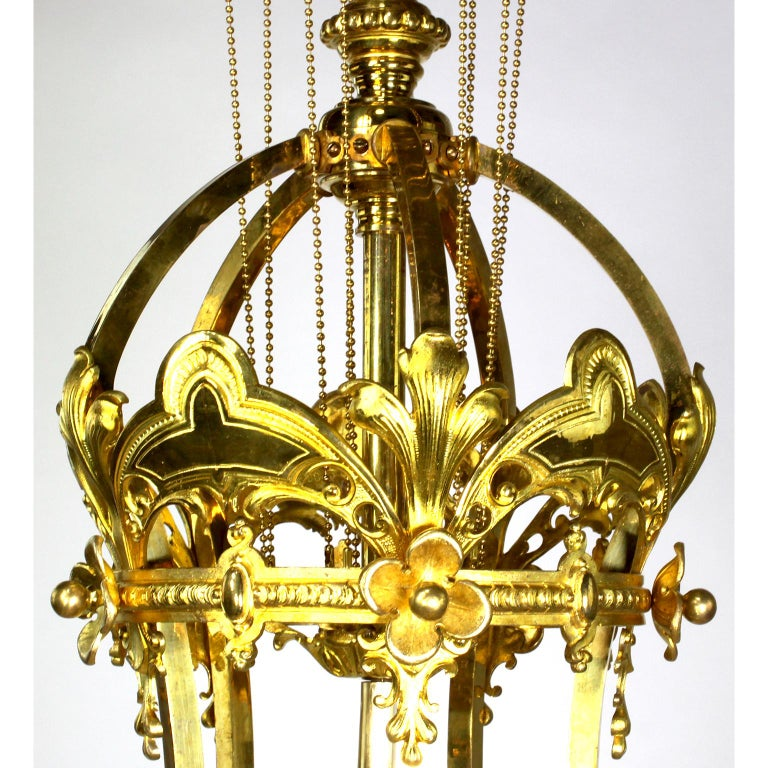 French 19th-20th Century Belle Époque Gilt-Bronze & Cut-Glass 6-Light Chandelier For Sale 6