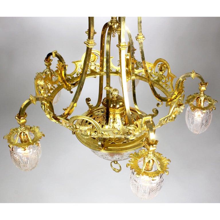 French 19th-20th Century Belle Époque Gilt-Bronze & Cut-Glass 6-Light Chandelier For Sale 7