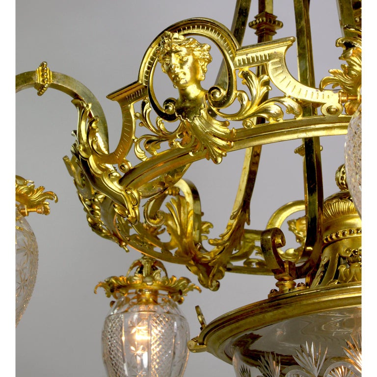 Early 20th Century French 19th-20th Century Belle Époque Gilt-Bronze & Cut-Glass 6-Light Chandelier For Sale