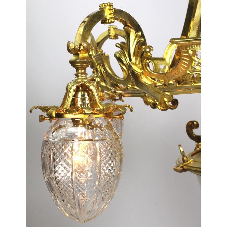 French 19th-20th Century Belle Époque Gilt-Bronze & Cut-Glass 6-Light Chandelier For Sale 1