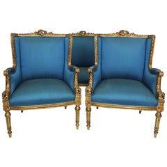 French 19th-20th Century Belle Époque Louis XVI Style Bergère Giltwood Salon Set