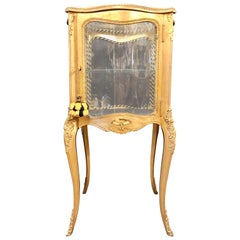 French 19th-20th Century Curio Vitrine Cabinet Curved Glass All Round